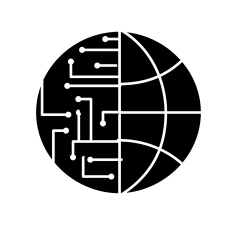 technology world globe network connection circuit vector illustration black and white design Illustration
