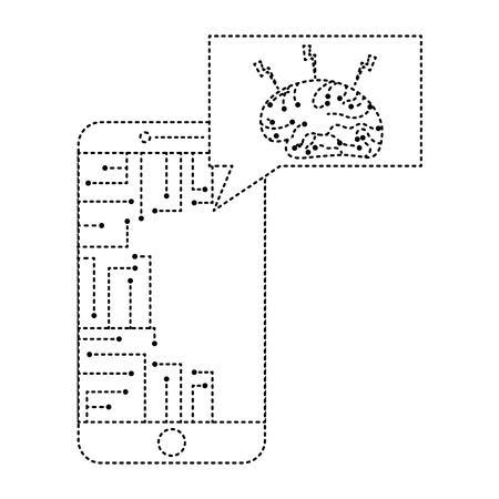 smartphone speech bubble brain circuit board ideas vector illustration dotted line design
