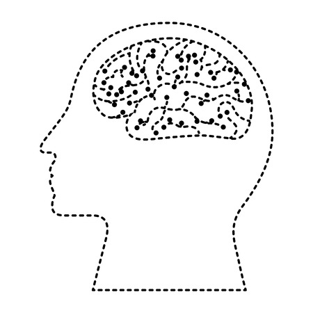 human profile brain artificial intelligence circuit vector illustration dotted line design Ilustração