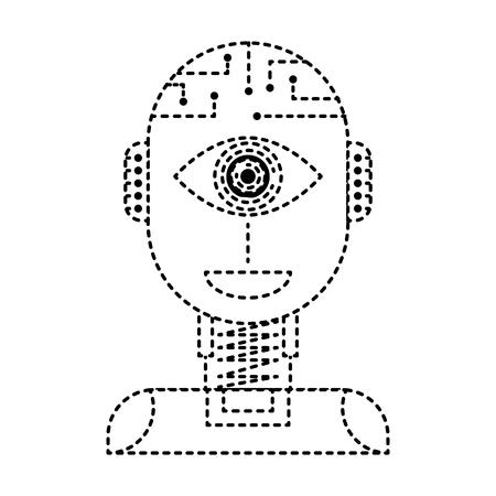 ロボット人工知能セキュリティ眼監視技術ベクトルイラスト点線設計