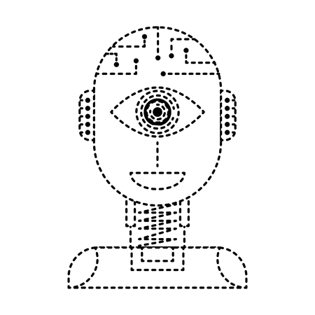 robot artificial intelligence security eye surveillance technology vector illustration dotted line design