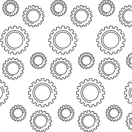 mechanical gears wheel technology pattern vector illustration dotted line design
