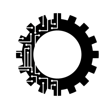 gear circuit technology work wheel vector illustration black and white design