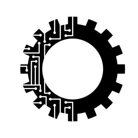 gear circuit technology work wheel vector illustration black and white design