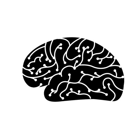 electronic circuit board brain in artificial intelligence process vector illustration black and white design