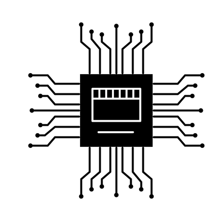 motherboard circuit high tech electric hardware icon vector illustration black and white design