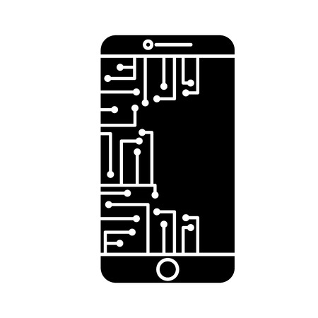 smartphone circuit processor technology device vector illustration black and white design