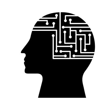 human profile circuit board data intelligence vector illustration black and white design Çizim