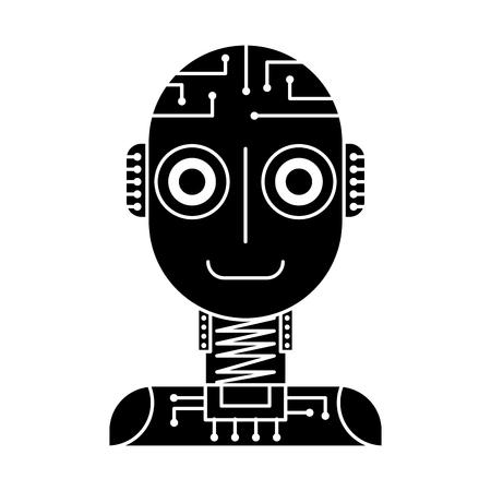 artificial intelligence robot machine technology futurist vector illustration black and white design Ilustração