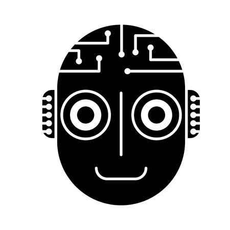 robot artificial intelligence head cyber futuristic vector illustration black and white design Illustration