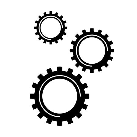 cogwheel gears mechanism technology settings vector illustration black and white design