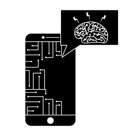 smartphone speech bubble brain circuit board ideas vector illustration black and white design  イラスト・ベクター素材