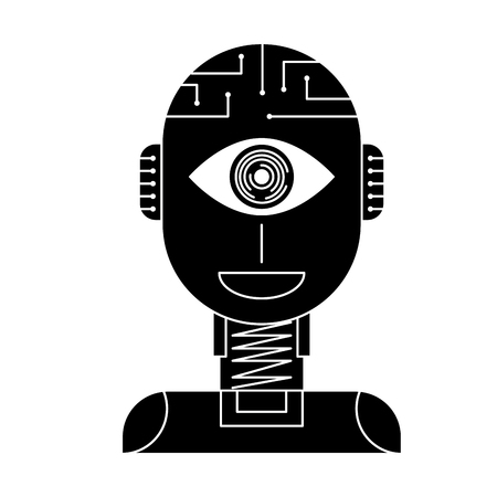 robot artificial intelligence security eye surveillance technology vector illustration black and white design