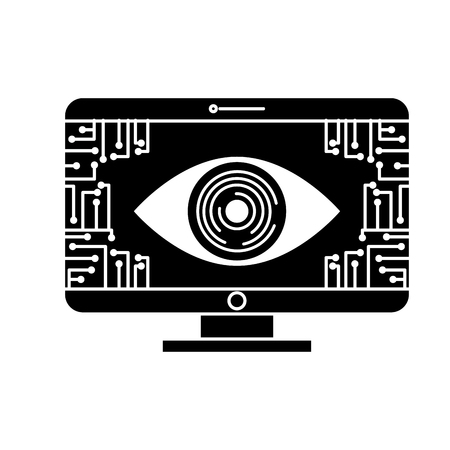 monitor computer eye security data circuit connection vector illustration black and white design