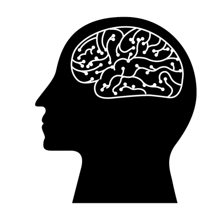 human profile brain artificial intelligence circuit vector illustration black and white design