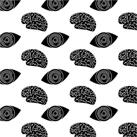 technology eye security brain circuit pattern design vector illustration Illustration