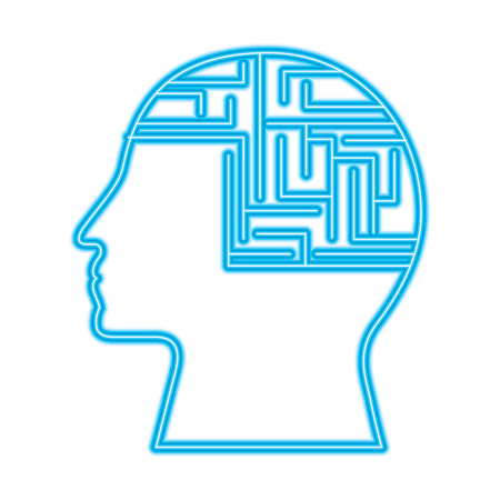 human profile circuit board data intelligence vector illustration