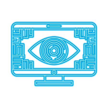 monitor computer eye security data circuit connection vector illustration Çizim