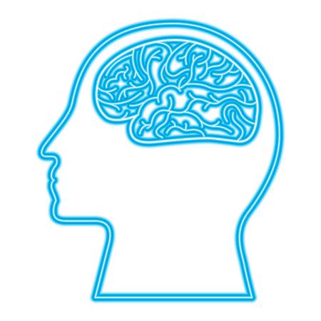 human profile brain artificial intelligence circuit vector illustration