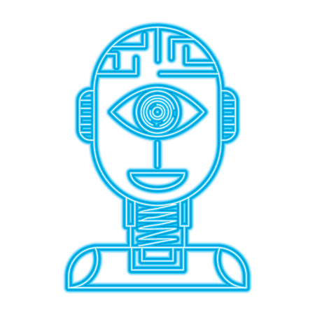 robot artificial intelligence security eye surveillance technology vector illustration