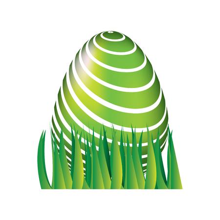 sweet cute decorative easter egg on grass vector illustration Çizim