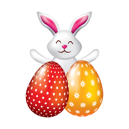 happy cute rabbit with two easter eggs decoration vector illustration