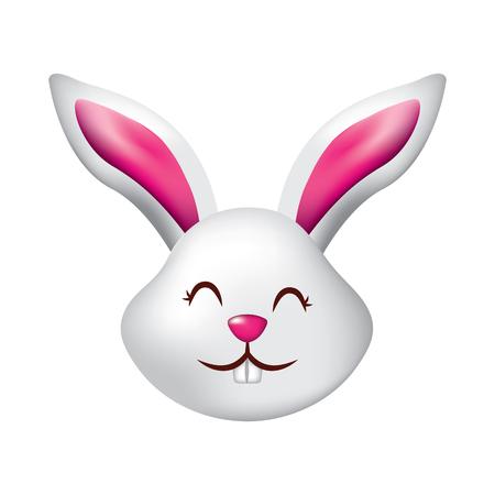 funny cute head rabbit ears animal cartoon vector illustration