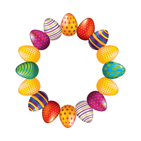 round frame decorative easter eggs ornament vector illustration  イラスト・ベクター素材