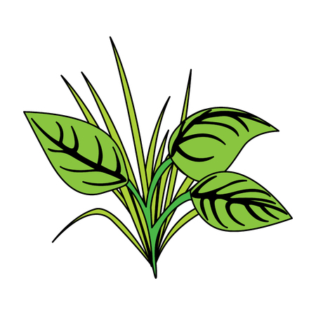 green leaves grass natural plant image vector illustration  イラスト・ベクター素材