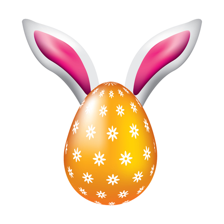 Easter egg with rabbit ears decoration vector illustration.