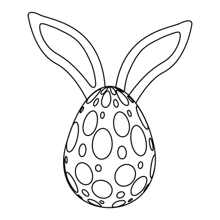 easter egg with rabbit ears decoration vector illustration