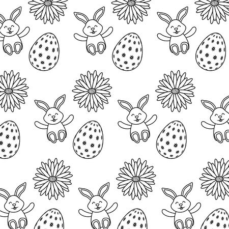 beautiful easter egg rabbit flower daisy decoration pattern vector illustration