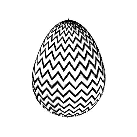 decorative easter egg zig zag ornament vector illustration sketch design