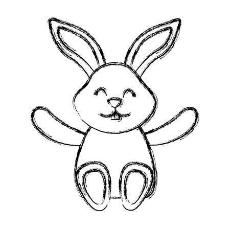 かわいい小さなバニー座っている動物幸せなベクトルイラストスケッチデザイン  イラスト・ベクター素材