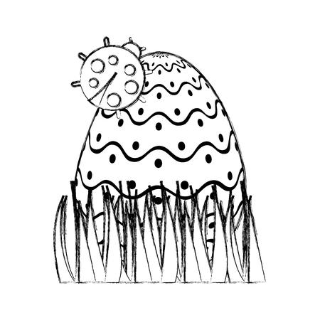 decorative easter egg with ladybug on grass sketch design