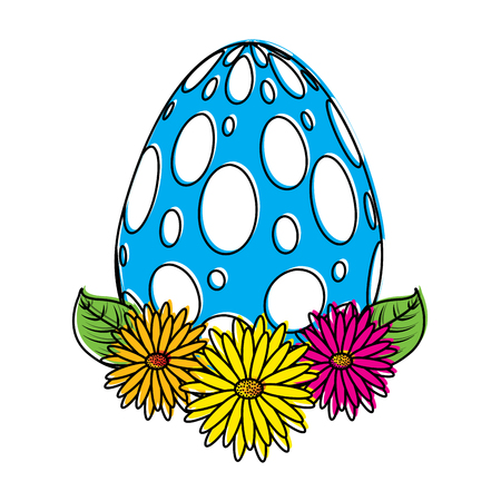 dotted easter egg daisies flower leaves decoration vector illustration