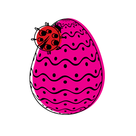 decorative easter egg with ladybug ornament vector illustration