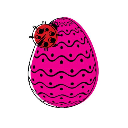 decorative easter egg with ladybug ornament vector illustration
