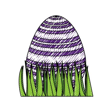 sweet cute decorative easter egg on grass vector illustration Illustration