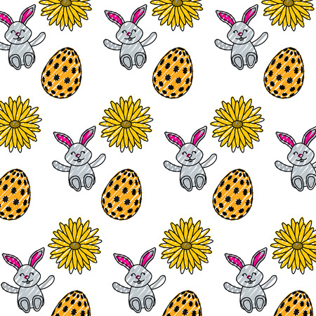 beautiful easter egg rabbit flower daisy decoration pattern vector illustration
