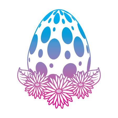 dotted easter egg daisies flower leaves decoration vector illustration degrade color line image