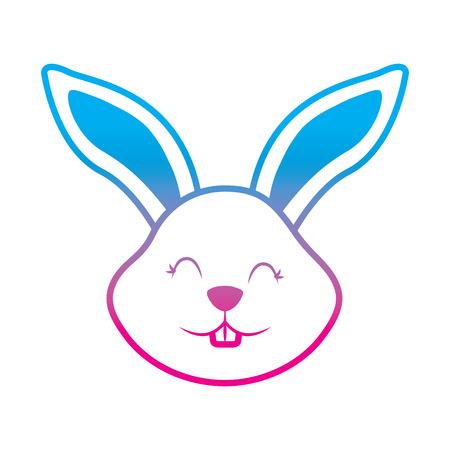 funny cute head rabbit ears animal cartoon vector illustration degrade color line image Illustration