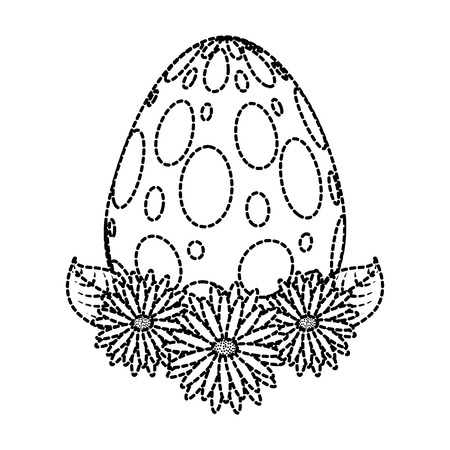 dotted easter egg daisies flower leaves decoration vector illustration dotted line image