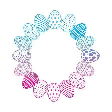 round frame decorative easter eggs ornament vector illustration degrade color line image Stock Illustratie