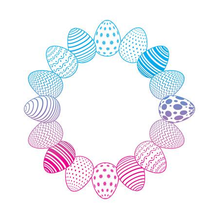 round frame decorative easter eggs ornament vector illustration degrade color line image Stock Illustratie
