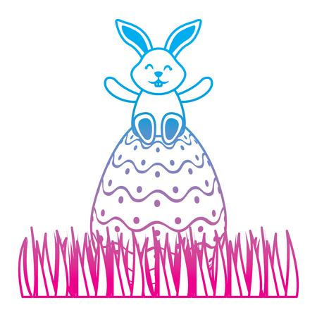 cute bunny sitting in easter egg on grass vector illustration degrade color line image Illustration