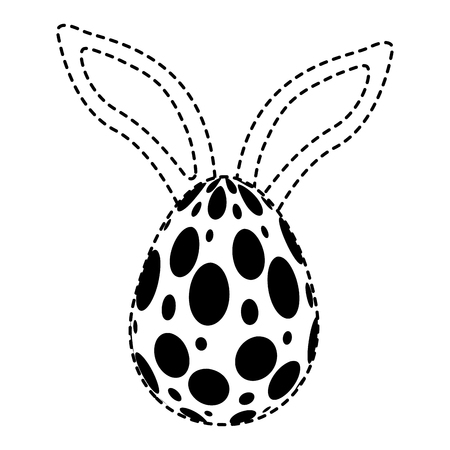 Easter egg with rabbit ears decoration. Vector illustration, dotted line image.