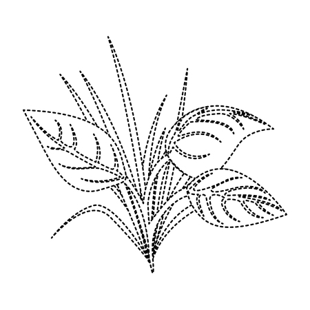 Leaves, grass natural plant image. Vector illustration, dotted line image. Illustration