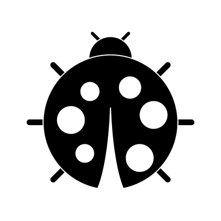 Cute ladybug dotted animal insect wildlife. Vector illustration, black and white image. Ilustração