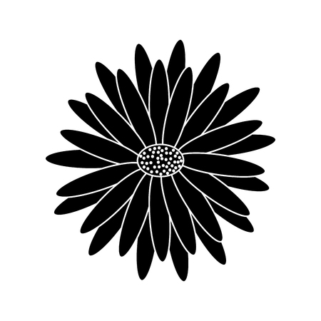 Beautiful natural flower daisy petals decoration. Vector illustration, black and white image. Illustration